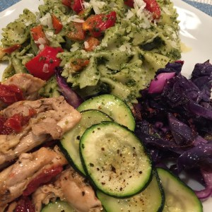 Sun-dried Tomato Chicken with Pesto Pasta and Roasted Vegetables