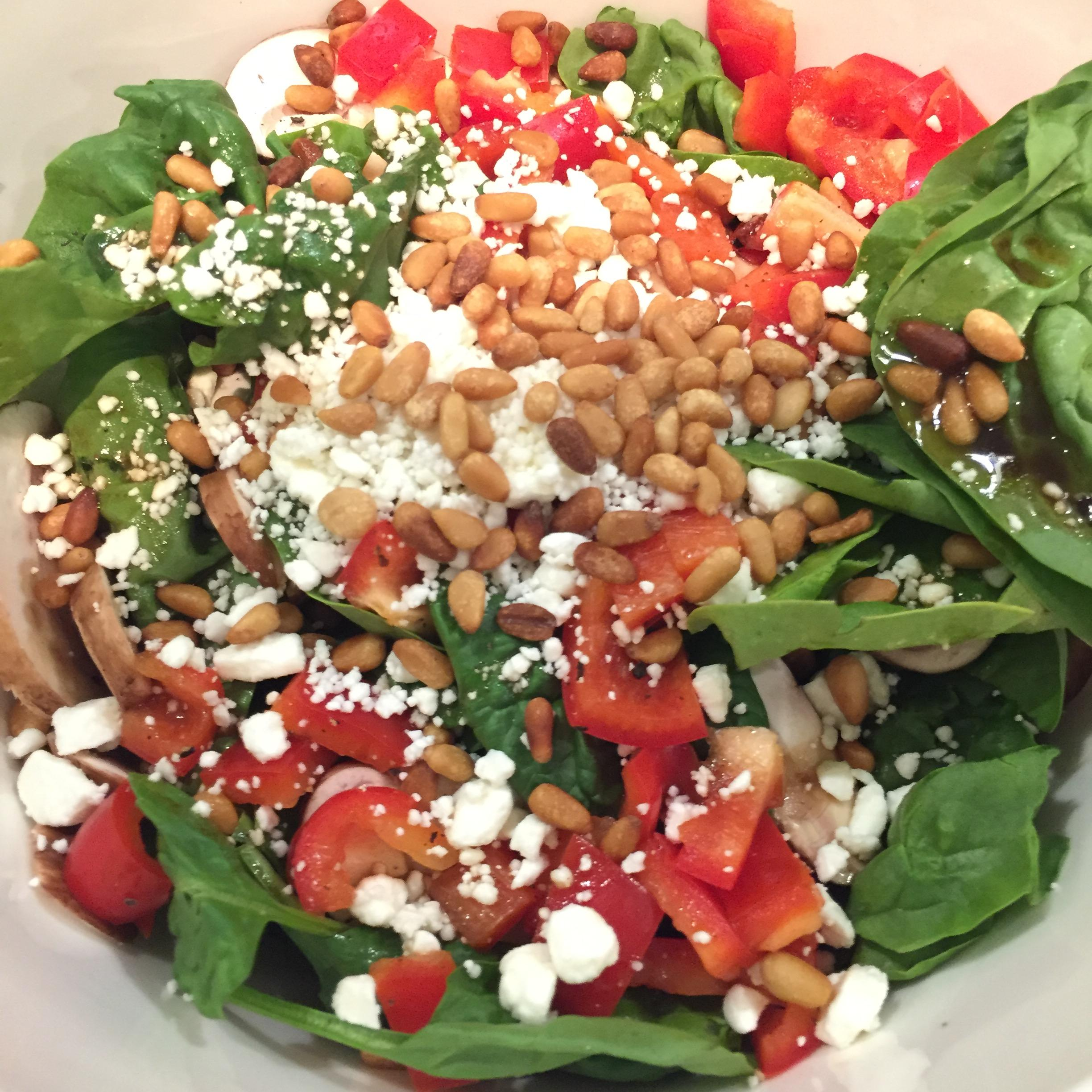 Spinach Salad with Red Bell Peppers, Toasted Pine Nuts, Crumbled Feta
