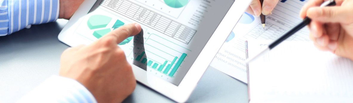 accountancy professional using an ipad