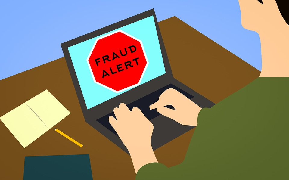 cartoon of person on laptop saying fraud alert
