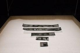 """Memory Surrogate, Installation Image Wood, LED light sheet, plexiglass, silkscreen on vellum, inkjet on vellum 24 x 24 x 10"""", suspended from the ceiling Spring 2015"""