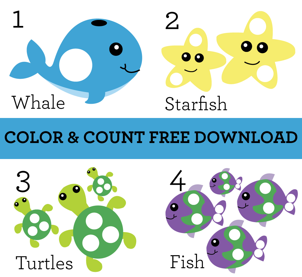 Under the Sea Color and Count Free Digital Download