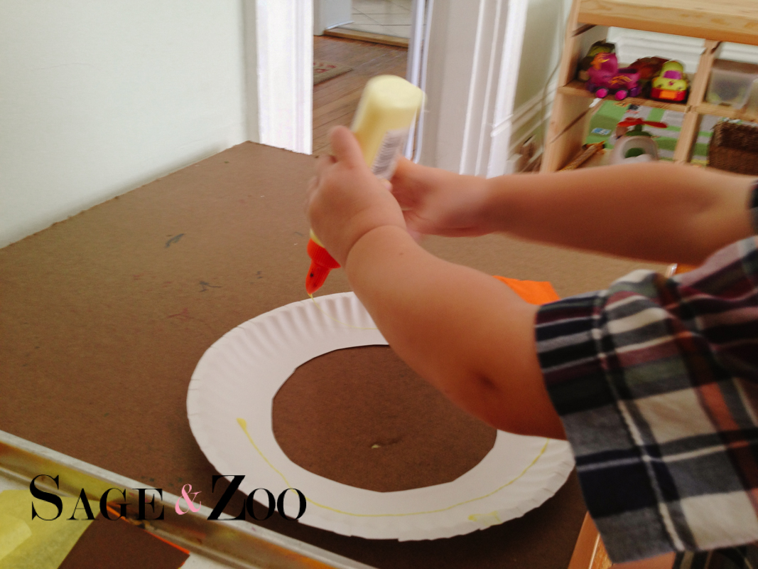 Lion Craft for Toddlers- adding the glue