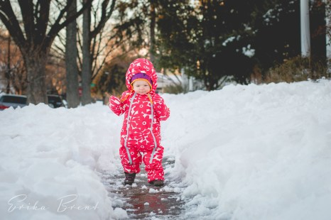 Love her focus as she carefully tries to maneuver the snow.