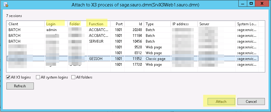 Sage X3 Eclipse Debug Attach process Dialog Box
