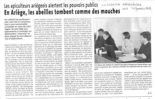 La Gazette ariégeoise 01/2014 : Abeilles l'hécatombe