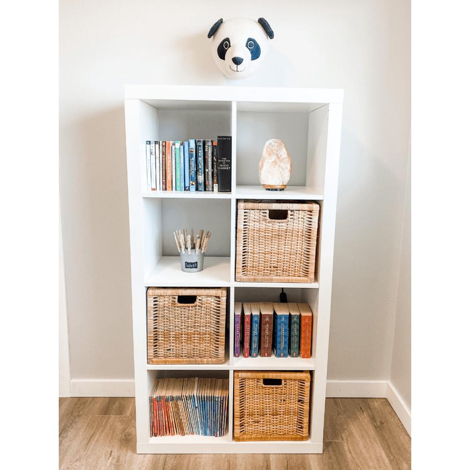 kids minimalist bookshelf with bucket system and toy storage