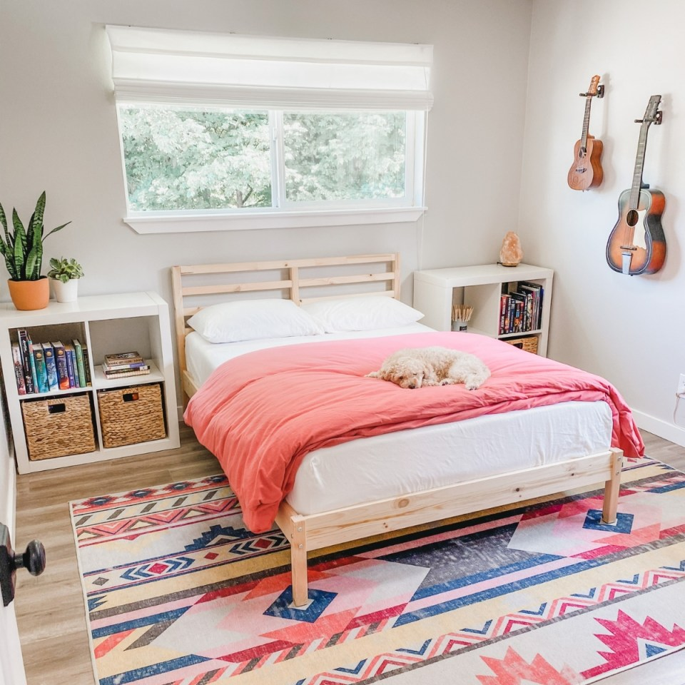Minimalist bohemian teen girl bedroom