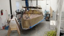 Hull liner complete and ready to be removed from the mold.