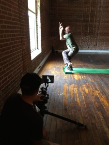 Steve at Carrboro Yoga for a shoot for an REI video