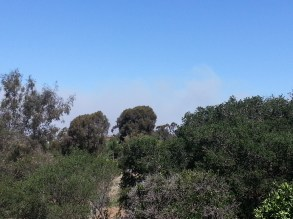 Eastern Portion of Camp Pendleton / Navy Weapons depot burning about 2 miles north