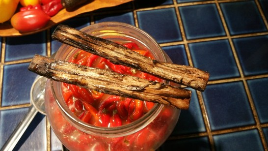 Toasted oak ready to be added to the pepper mixture