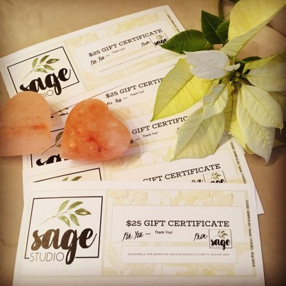 $25 Gift Certificates for $20. Save $5!!!
