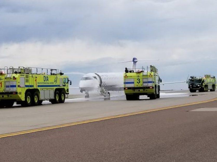 United Airlines Flight Lands With Fire On Left Engine At Denver International Airport, US