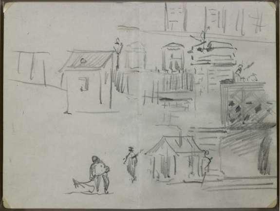 Édouard Manet - Recto : Le pont de l'Europe - Croquis pour Le chemin de fer (1872-1873, Washington, National Gallery of Art) - 1872 - Mine de plomb sur double page de carnet, papier vélin
