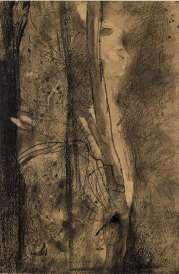 Odilon Redon - L'apparition - Fusain.
