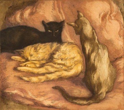 Alfredo Müller - Les trois chats - 1902