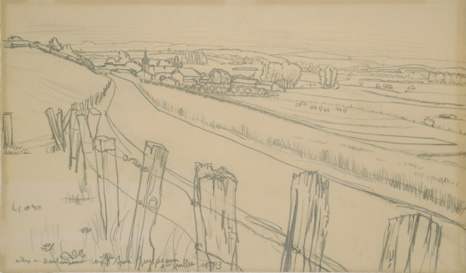 André Jacquemin - Village de Boulaincourt (Vosges) - 1973 - Crayon