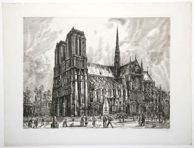 Albert Decaris - Notre Dame de Paris vue du pont Saint Michel - Recto