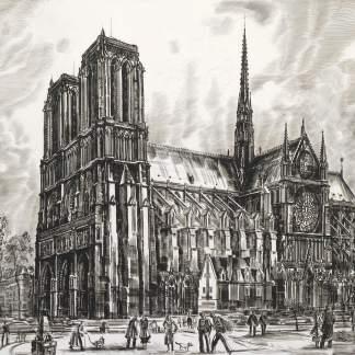 Albert Decaris - Notre Dame de Paris vue du pont Saint Michel