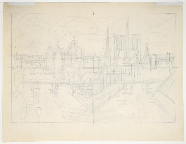 Marcel Gromaire - Paris, la Cité - Dessin préparatoire - Verso