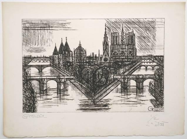 Marcel Gromaire - Paris, la Cité - Deuxième état - Recto