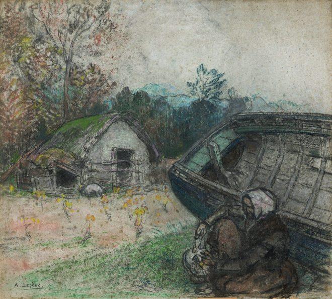 Auguste Lepère - La vigne et le vieux bateau