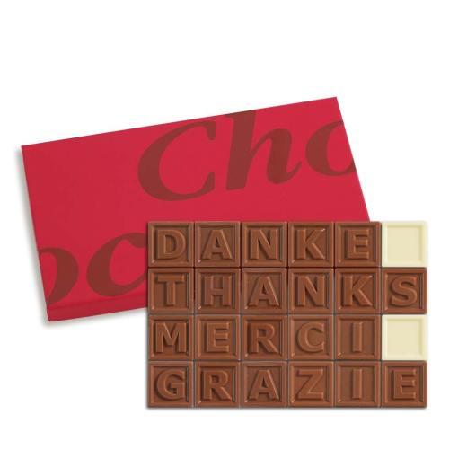 24er-Schoko-SMS - Danke Thanks Merci Grazie