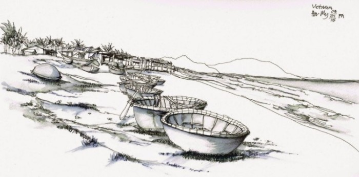 pernah kah kalian membuat sketsa gambar pemandangan  57 Gambar Sketsa Pemandangan Alam, Pantai, Gunung, dan Desa