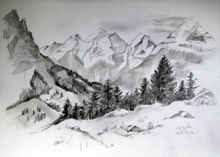 Sketsa Pemandangan Gunung dan Sawah