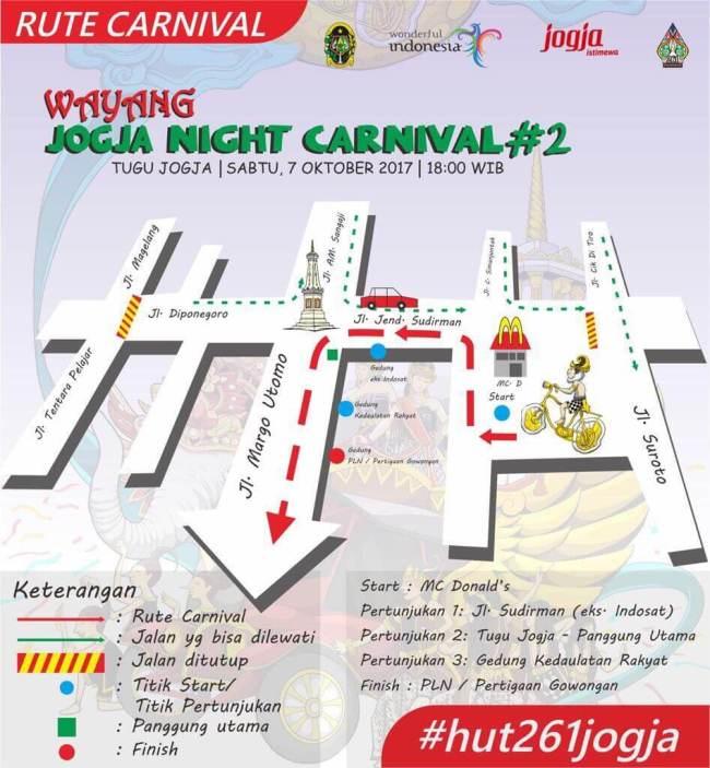 Rute Wayang Jogja Night Carnival 2017