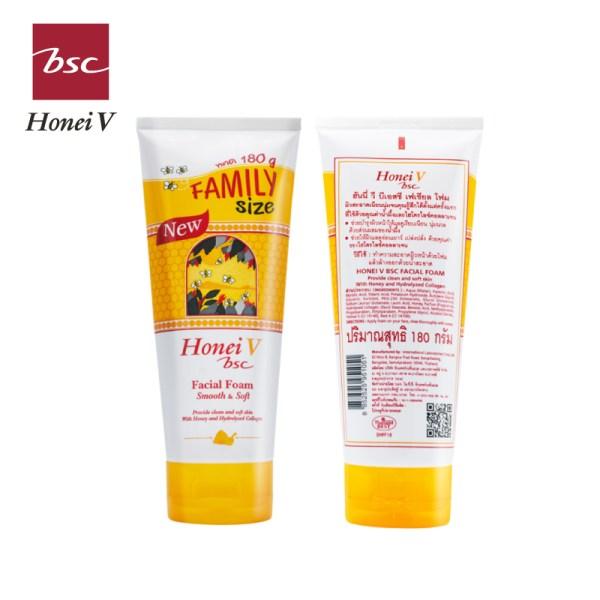 Honei v Bsc ฮันนี่ วี บีเอสซี เฟเชียลโฟม 180กรัม โฟมน้ำผึ้งสูตรยอดนิยม ขนาดแฟมิลี่ไซส์