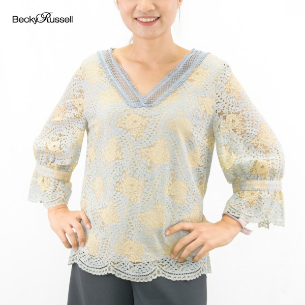 Becky Russell Becky Russell ELEGANT LIFE LACE V NECK BLOUSE PRB297