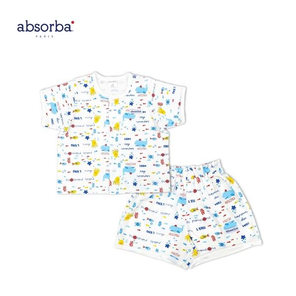 Absorba absorba ชุดเสื้อผ้าเด็กอ่อน กระดุมหน้าแขนสั้น ขาสั้น คอลเลคชั่น Ocean