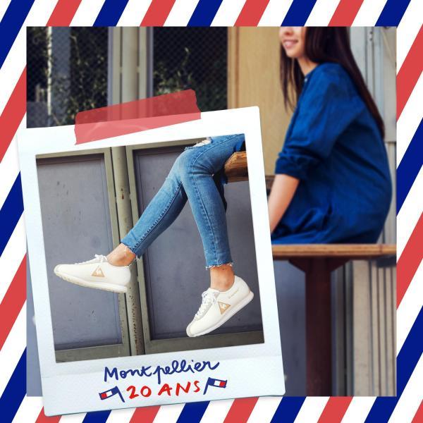le coq sportif le coq sportif รองเท้าหนังแท้ผู้หญิง รุ่น Montpellier Leather W สีขาว/ทอง รองเท้าสีขาว รองเท้าสนีกเกอร์แฟชั่น