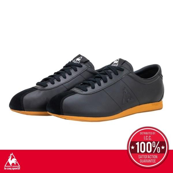 le coq sportif le coq sportif รองเท้าหนังแท้ ชาย-หญิง Unisex รุ่น MONTPELLIER II LE (มองเปอร์ริเย่ต์) รองเท้าลำลอง สีดำ