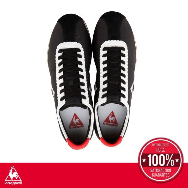 le coq sportif le coq sportif รองเท้าหนังแท้ผู้ชาย รุ่น Montpellier Leather สีดำ/ขาว รองเท้าสีดำ รองเท้าสนีกเกอร์แฟชั่น