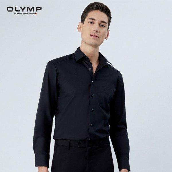 Olymp OLYMP เสื้อเชิ้ตแขนยาว ทรงตรง Modern Fit สีดำ