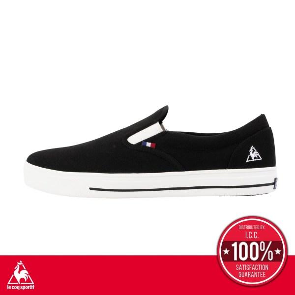 le coq sportif le coq sportif รองเท้าผู้ชาย รุ่น TELUNA BOUND COURT SP สีดำ รองเท้าสลิปออนสีดำ รองเท้าลำลอง