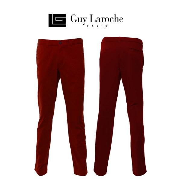 Guy laroche GUY LAROCHE กางเกงขายาวลำลองสีพื้น ทรง SLIM FIT (BSCEZW901MR)