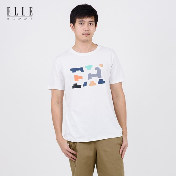 Elle Homme ELLE HOMME เสื้อยืดผู้ชายคอกลม สีขาว (W8K498)