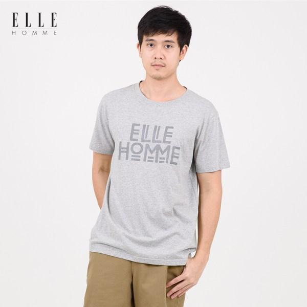 Elle Homme ELLE HOMME เสื้อยืดผู้ชายคอกลม สีเทา (W8K500)
