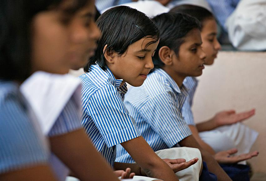 children-learn-meditation-at-school-in-india