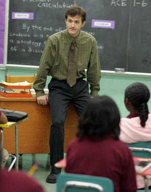 """Pryzbylewski from the show """"The Wire"""" teaching a classroom."""