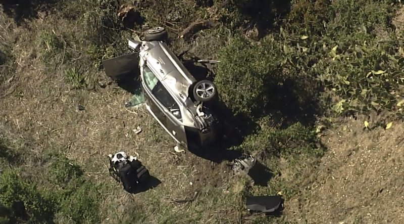 Scene of Tiger Woods car accident