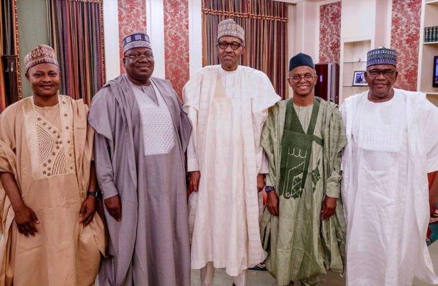 President Muhammadu Buhari in a group photograph with Goje, El-Rufai at the Villa