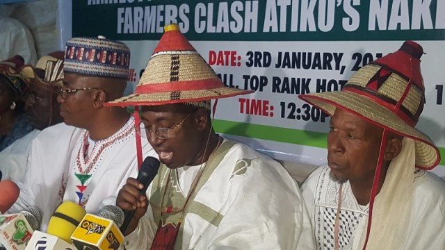 Abdullahi Bello Bodejo, President of the Miyetti Allah Association, addressing a press conference in Abuja on Thursday.