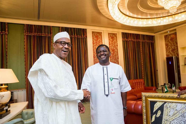 President Buhari and Femi Adesina.
