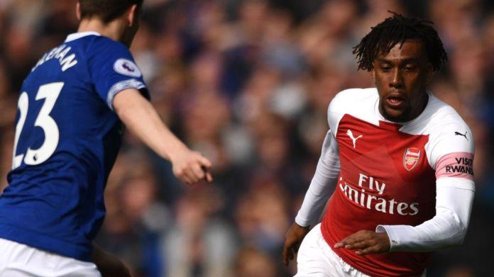 Alex Iwobi in a match against Everton