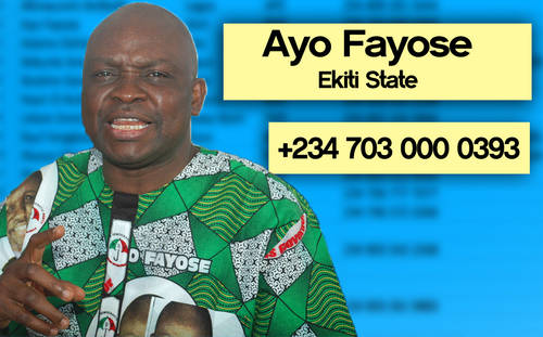 Ayo%20Fayose Photos: Phone numbers of Nigerian governors leaked